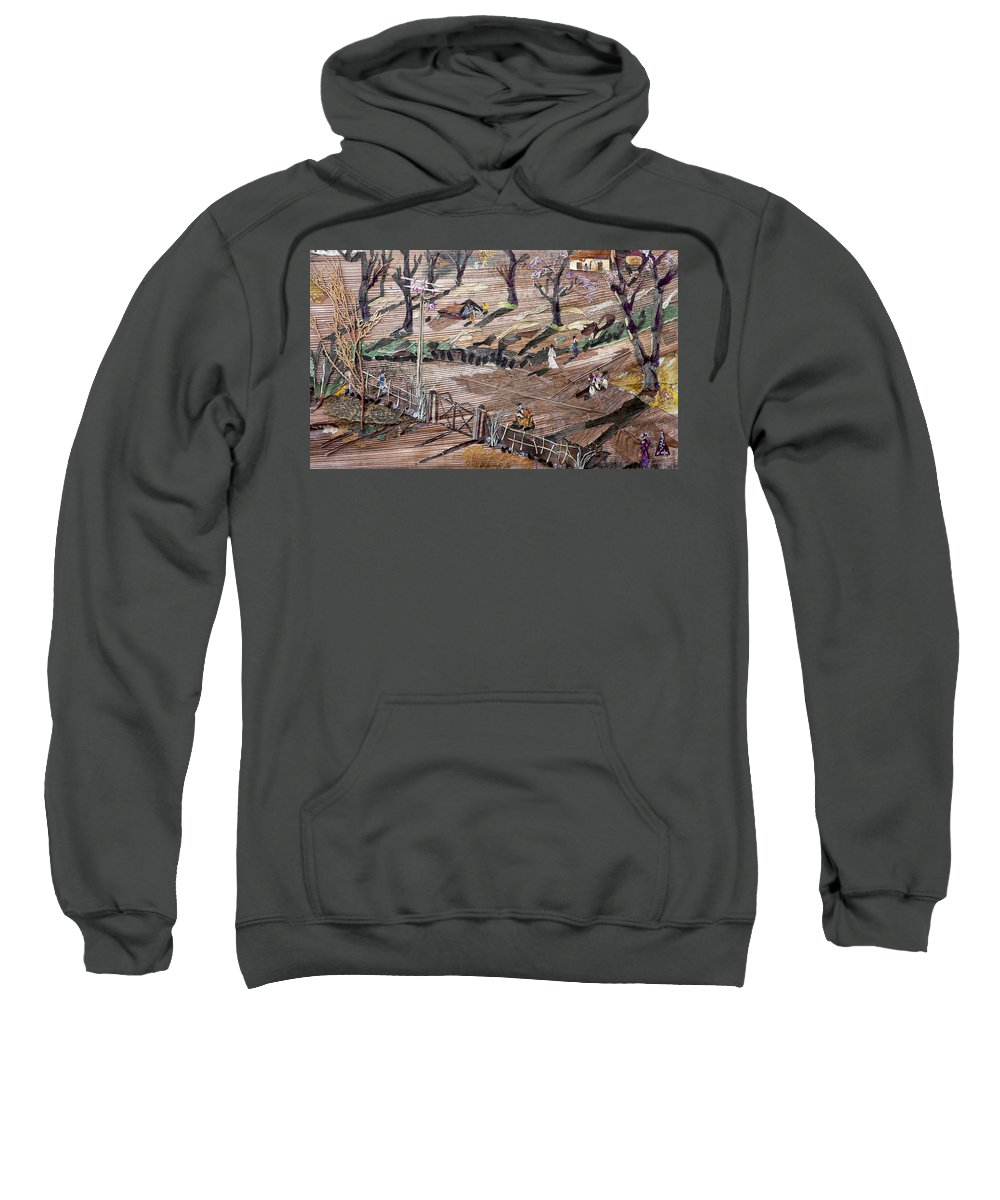 Uneven Ground Sweatshirt featuring the mixed media Affect Of Global Warming by Basant Soni