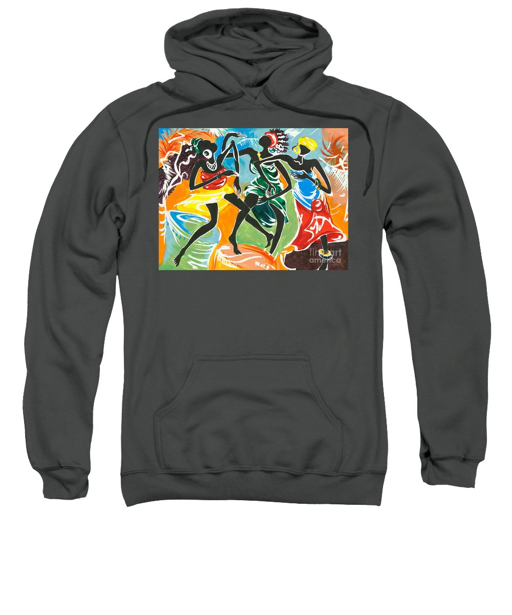 African Sweatshirt featuring the painting African Dancers No. 3 by Elisabeta Hermann