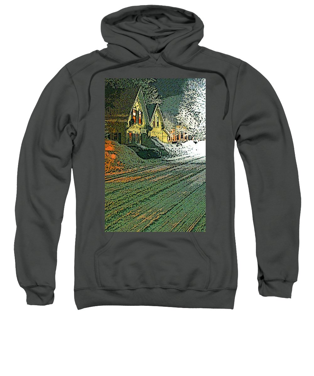 Vermont Sweatshirt featuring the digital art After The Snow - One by Nancy Griswold