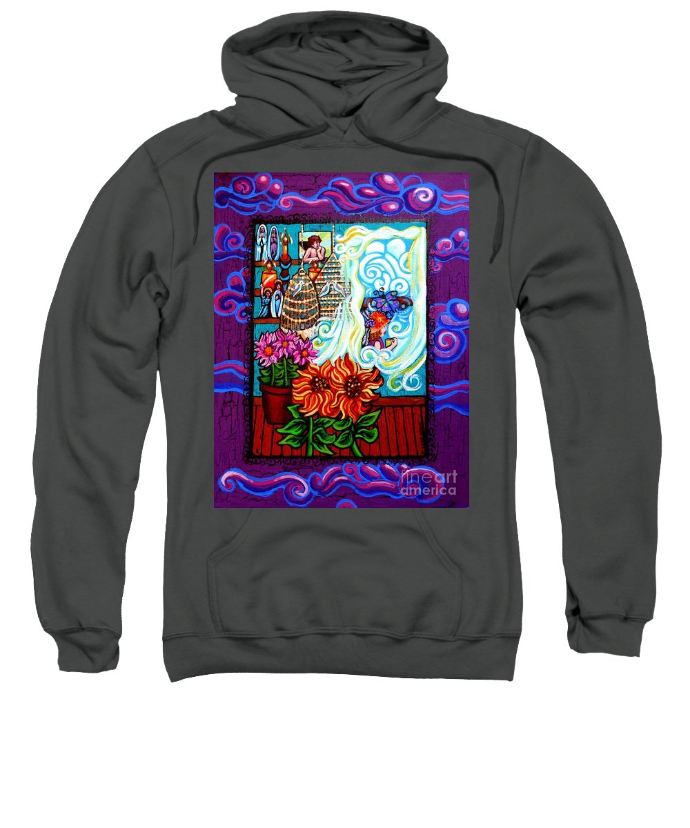The Unfastened Heart Sweatshirt featuring the painting Afternoon Tea By The Window by Genevieve Esson