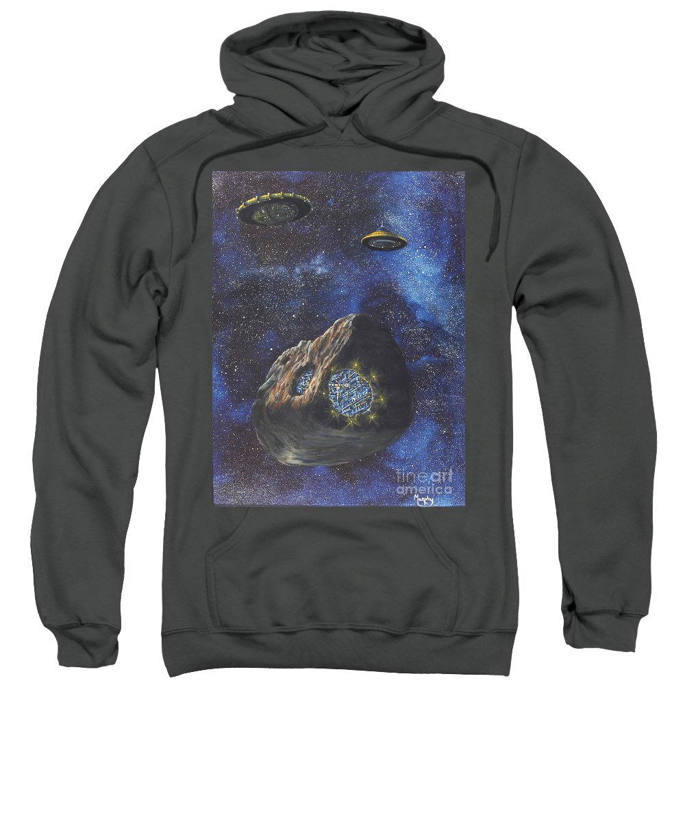 Painting Sweatshirt featuring the painting Alien Space Factory by Murphy Elliott