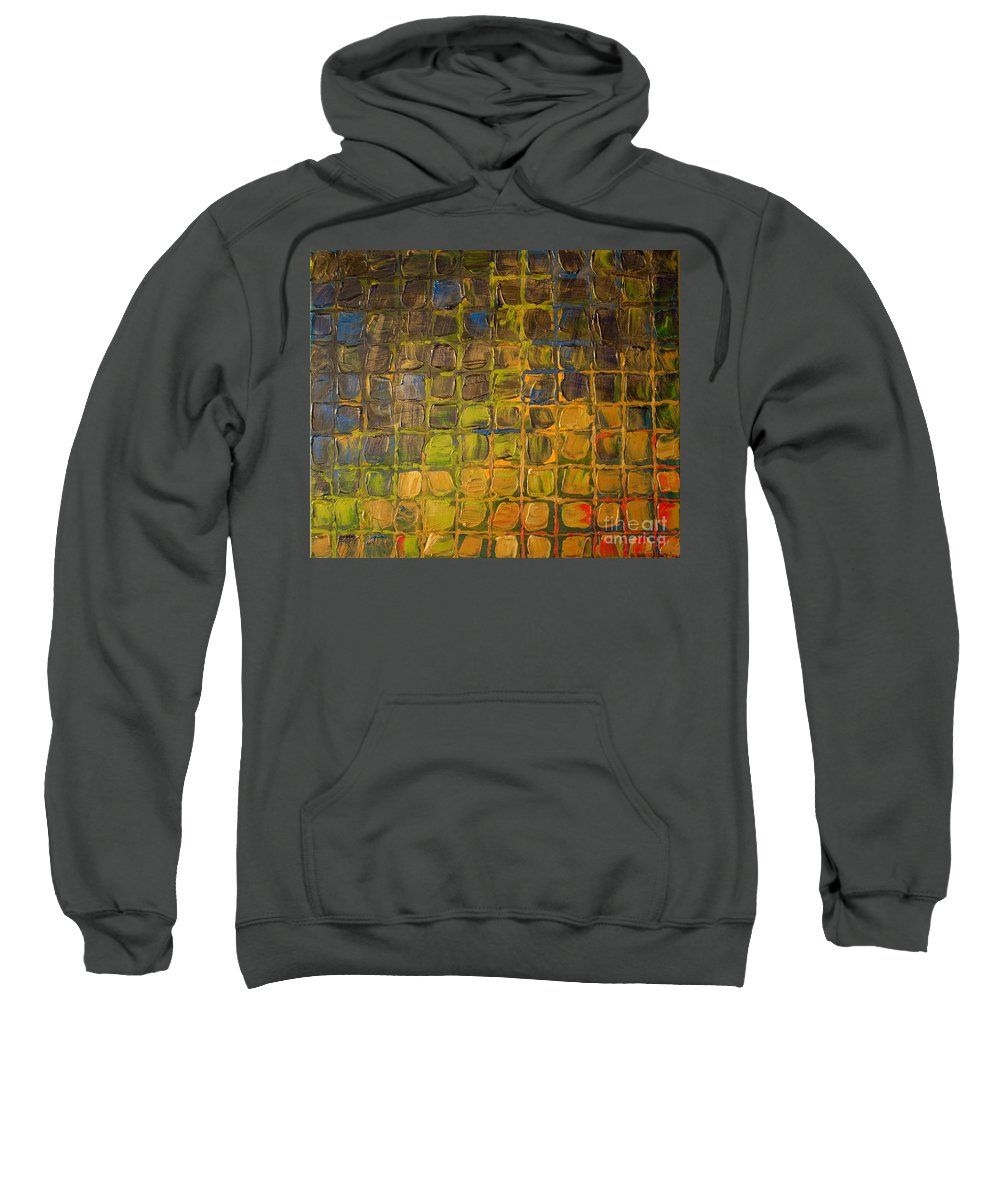 Dimensional Sweatshirt featuring the painting All Boxed In by Paulette B Wright