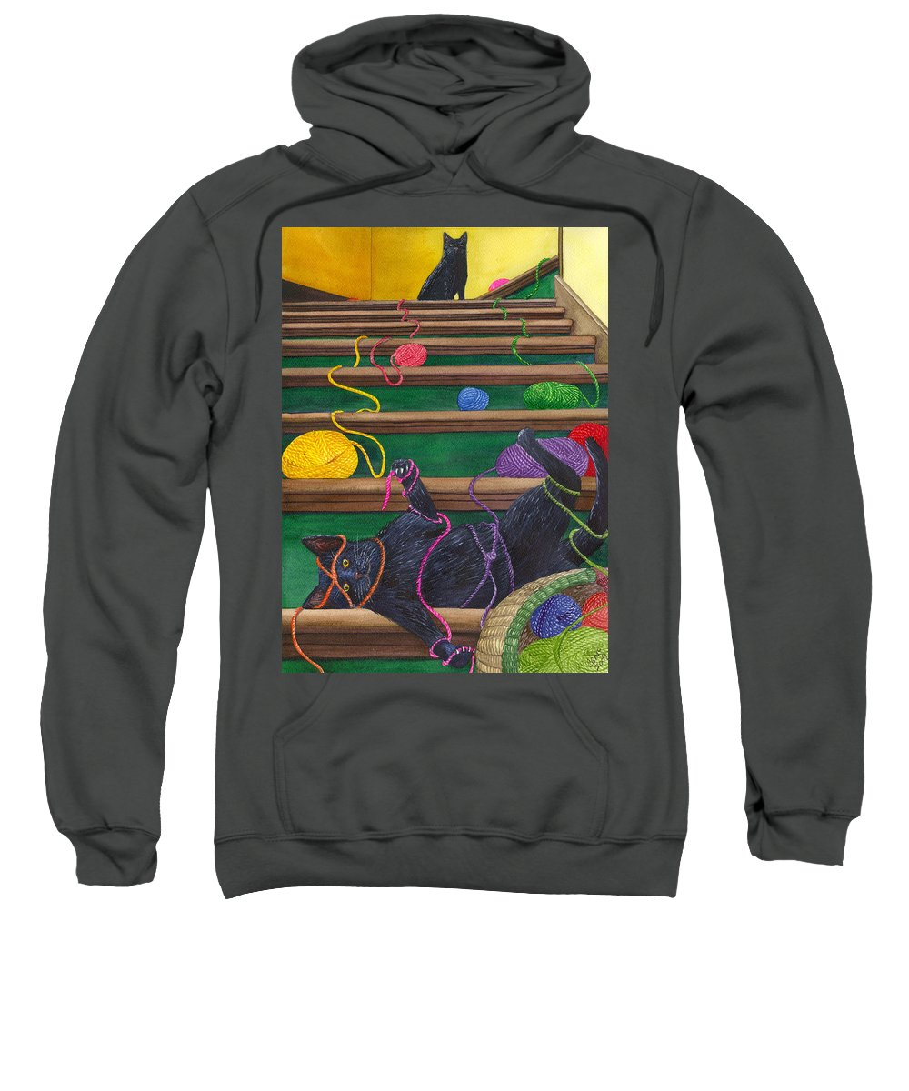 Cat Sweatshirt featuring the painting All Caught Up by Catherine G McElroy