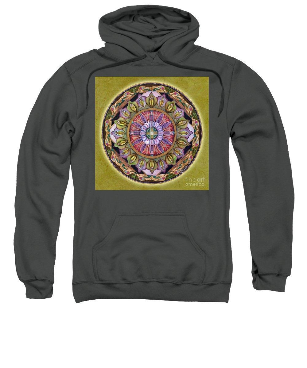 Mandala Art Sweatshirt featuring the painting All Is Well Mandala by Jo Thomas Blaine