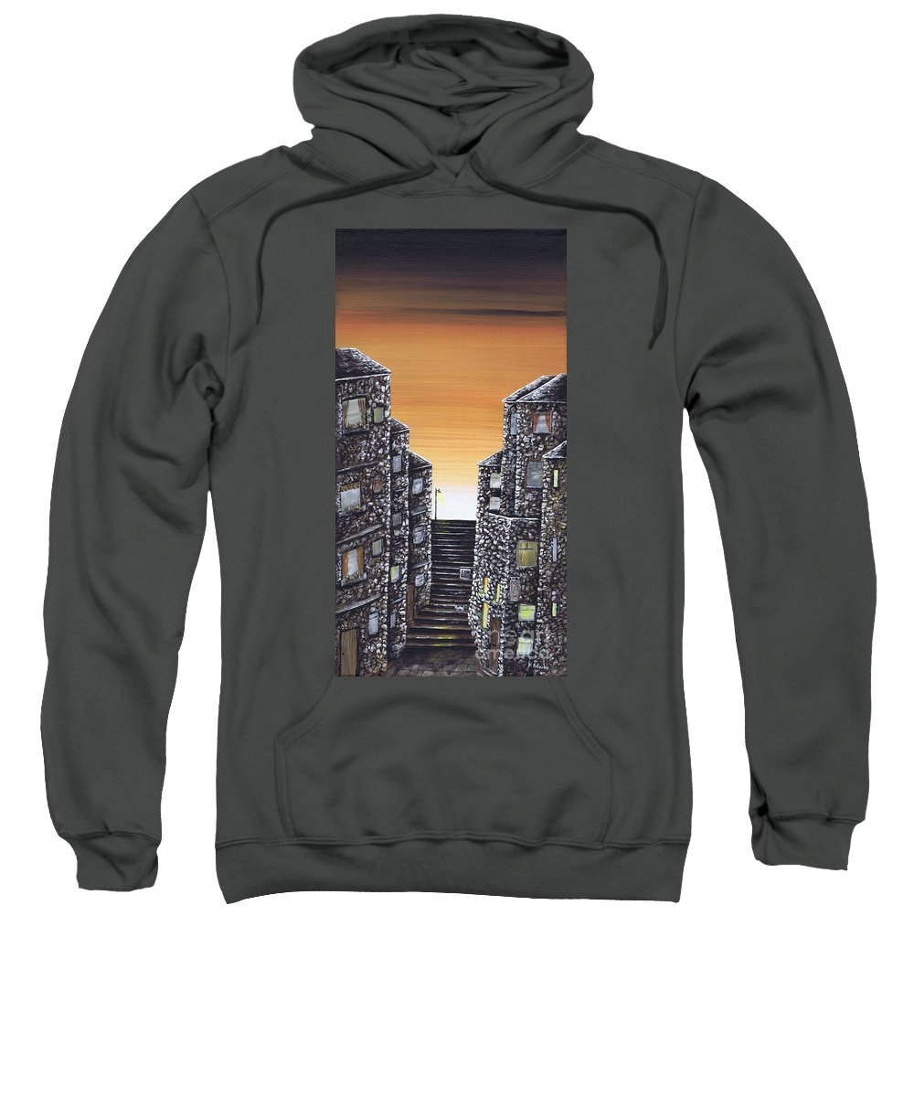 Alley Cat Sweatshirt featuring the painting Alley Cat by Kenneth Clarke