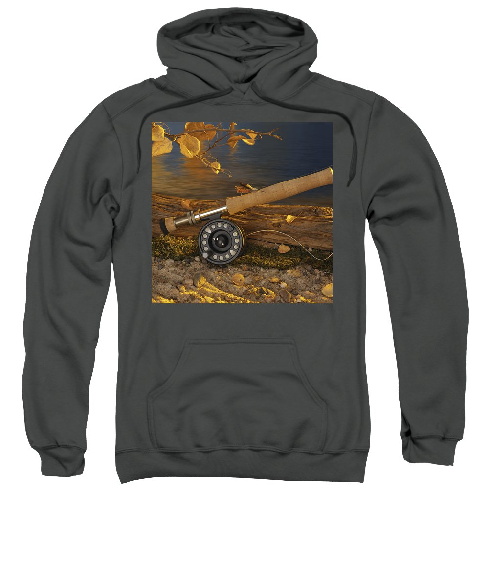 Fishing Sweatshirt featuring the photograph Along The Stream by Jerry McElroy