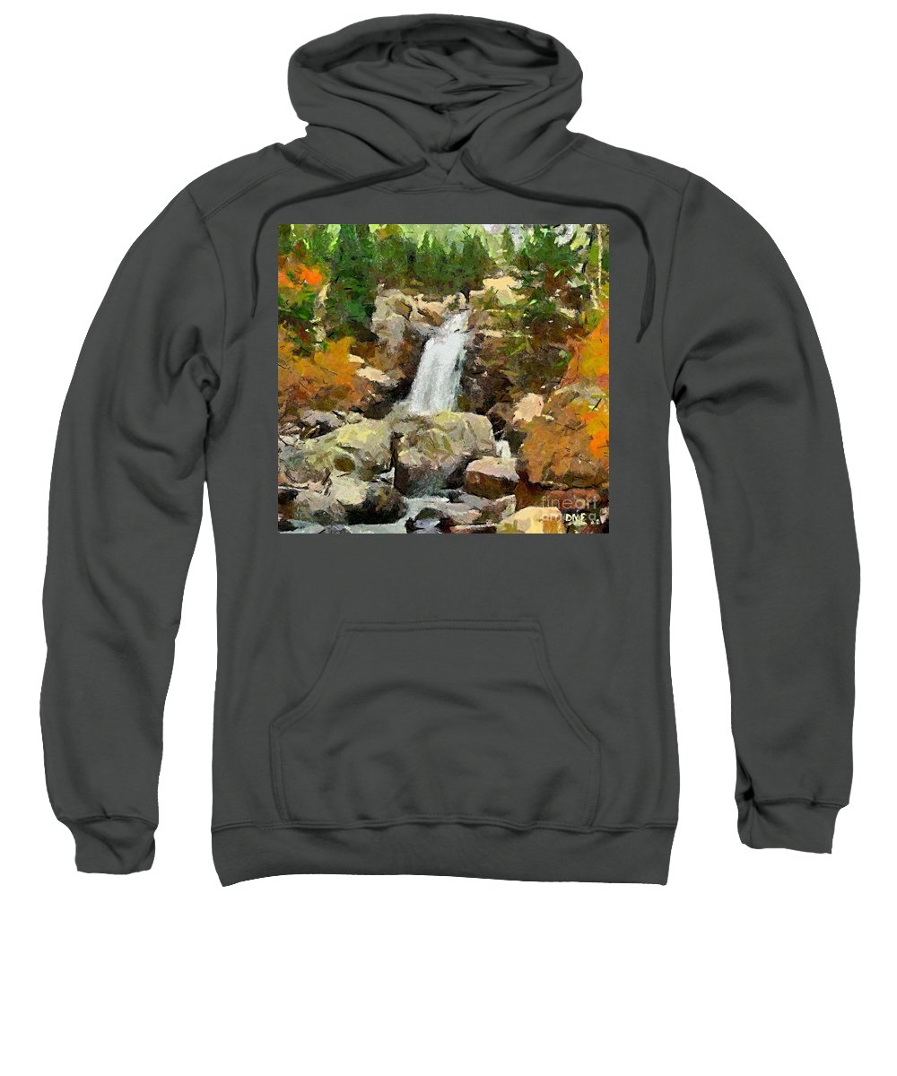 Season Sweatshirt featuring the painting Alpine Torrent by Dragica Micki Fortuna