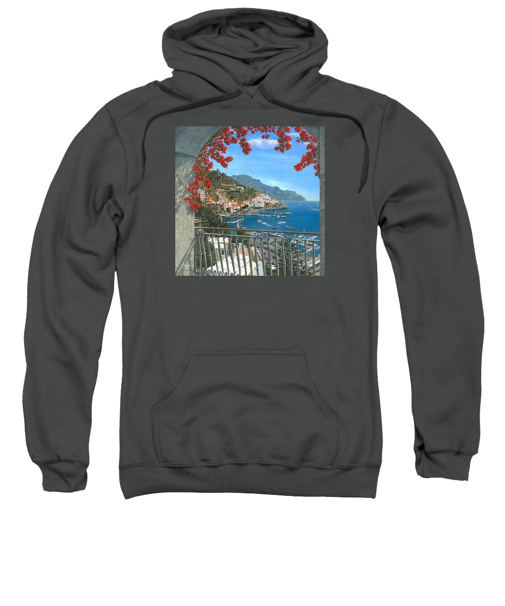 Landscape Sweatshirt featuring the painting Amalfi Vista by Richard Harpum
