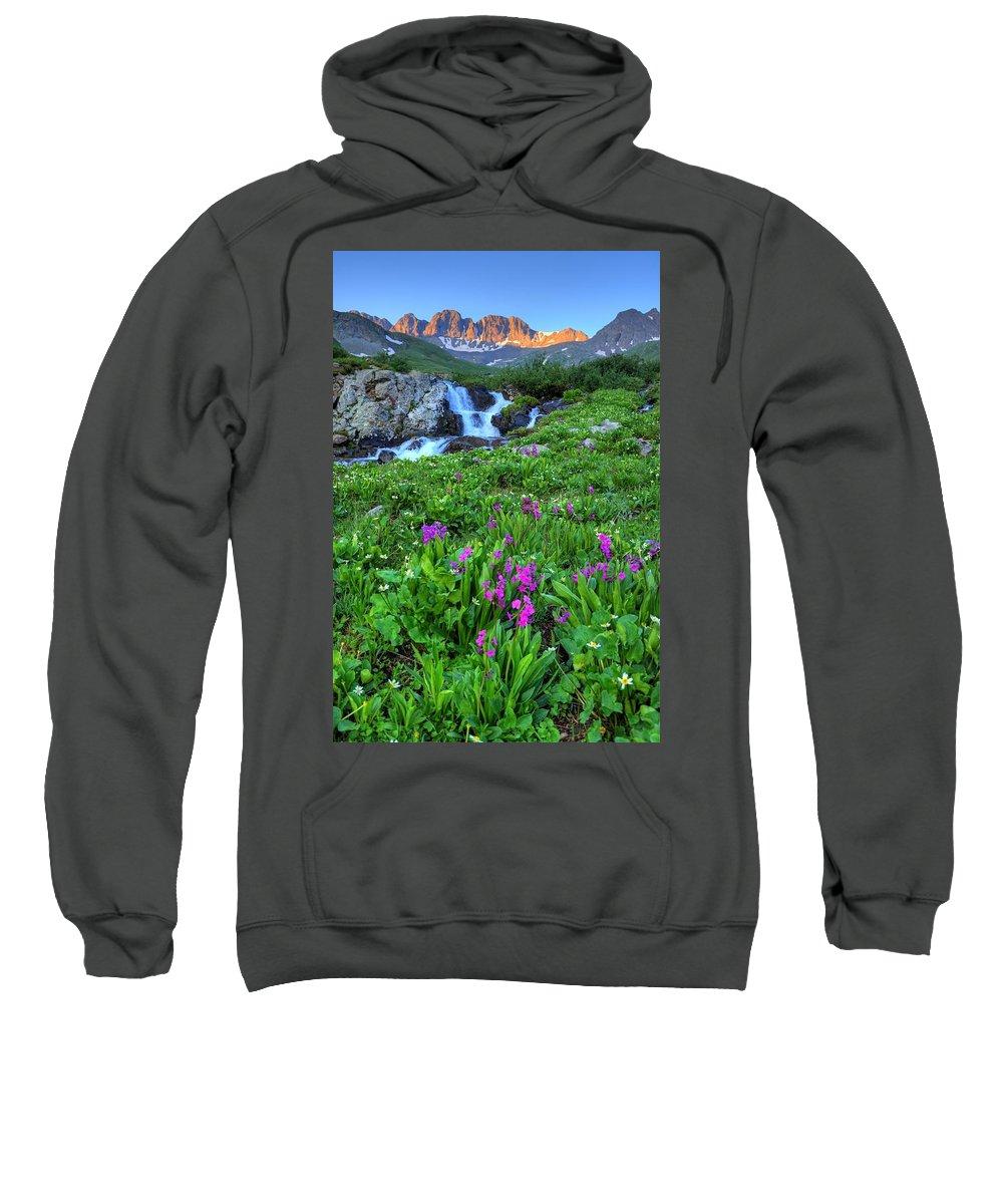 American Basin Sweatshirt featuring the photograph American Basin Waterfall by David Ross
