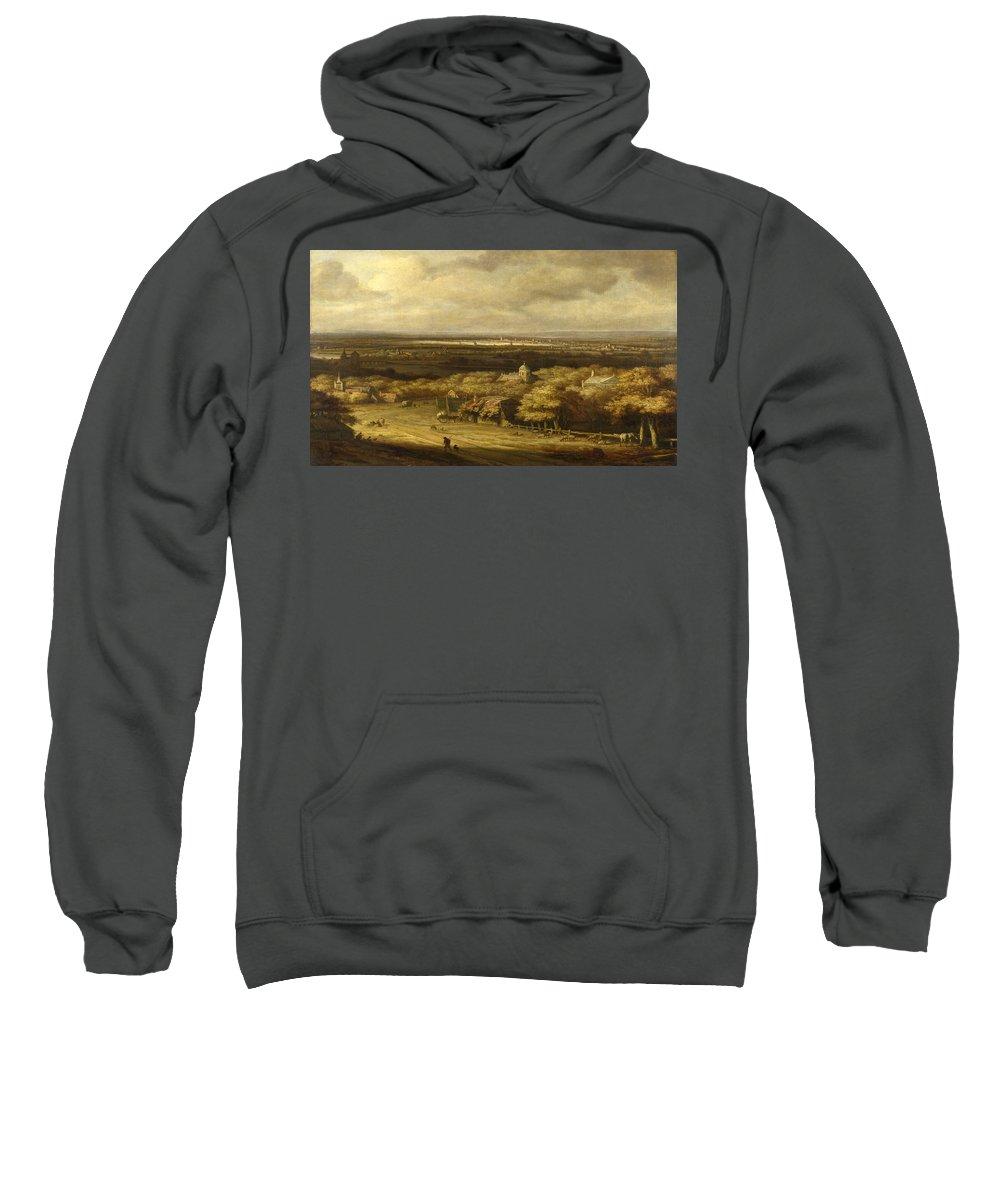 Philips Koninck Sweatshirt featuring the painting An Extensive Landscape by Philips Koninck