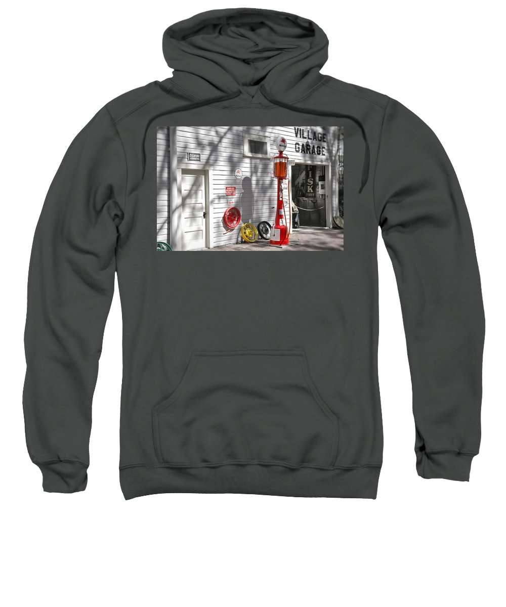 Garage Sweatshirt featuring the photograph An Old Village Gas Station by Mal Bray