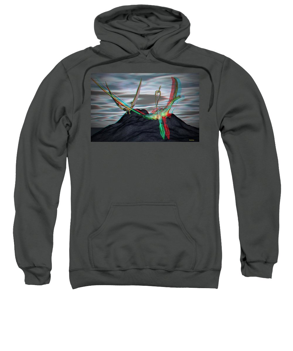 Quetzalcoatlus Sweatshirt featuring the digital art Anaglyph Quetzalcoatlus by Ramon Martinez