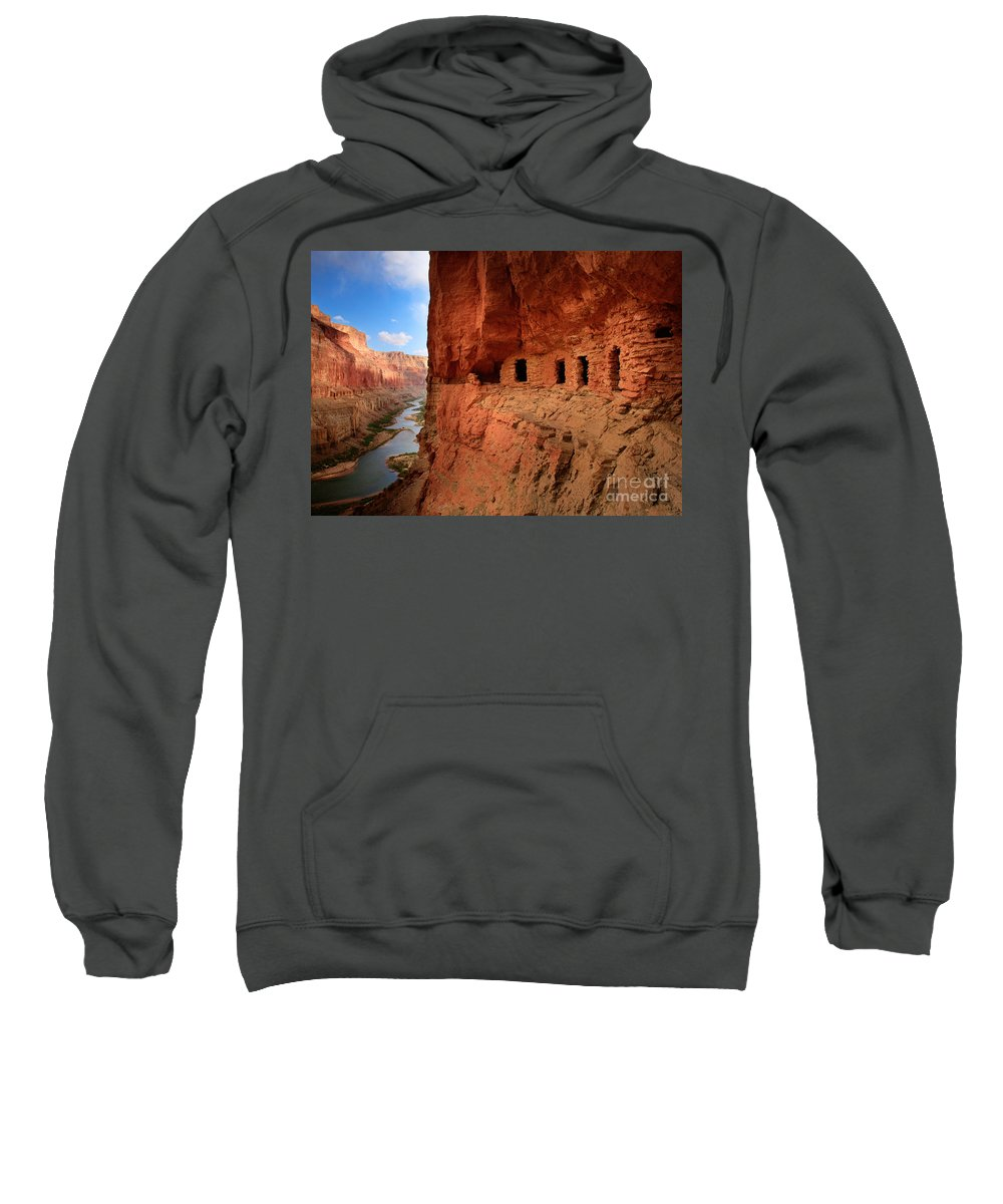 Grand Canyon Sweatshirt featuring the photograph Anasazi Granaries by Inge Johnsson