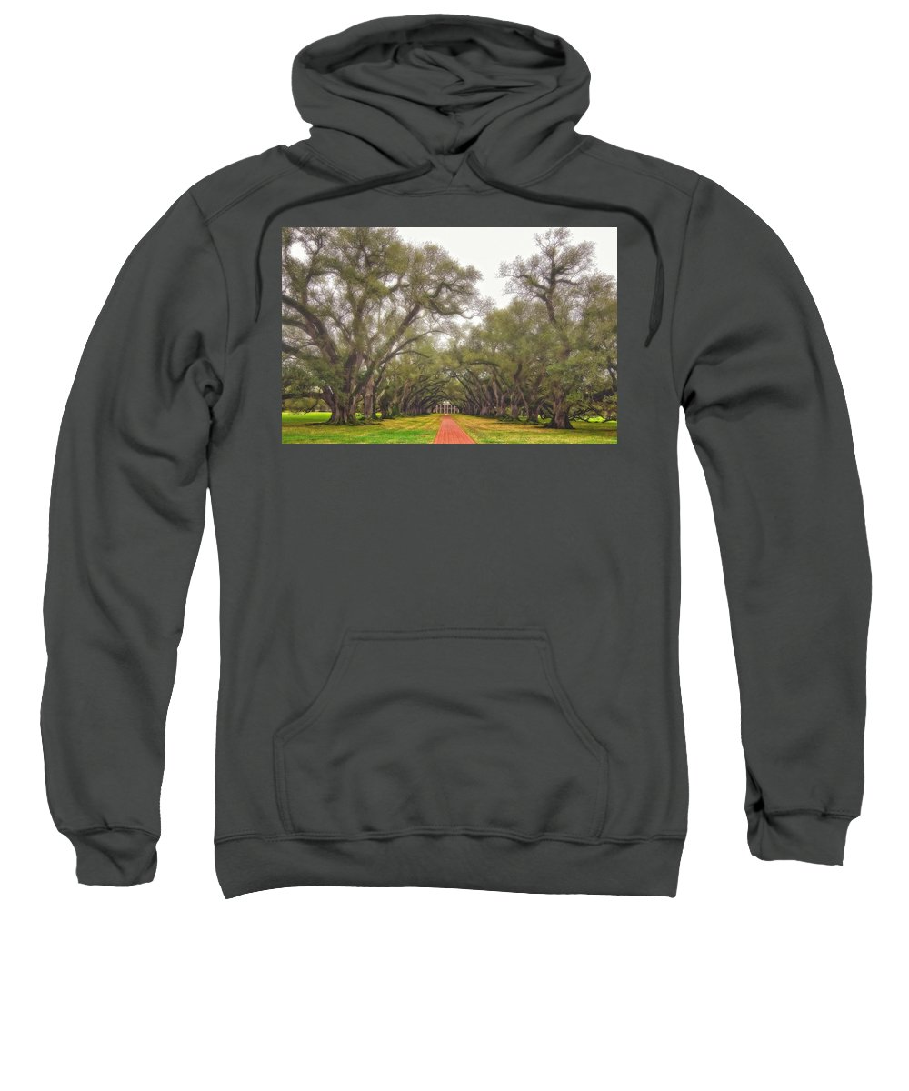 Oak Alley Plantation Sweatshirt featuring the photograph And Time Stood Still by Steve Harrington