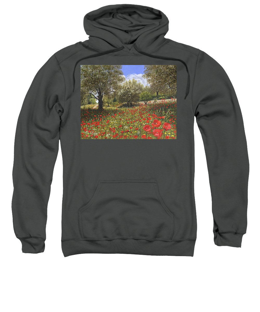 Landscape Sweatshirt featuring the painting Andalucian Poppies by Richard Harpum