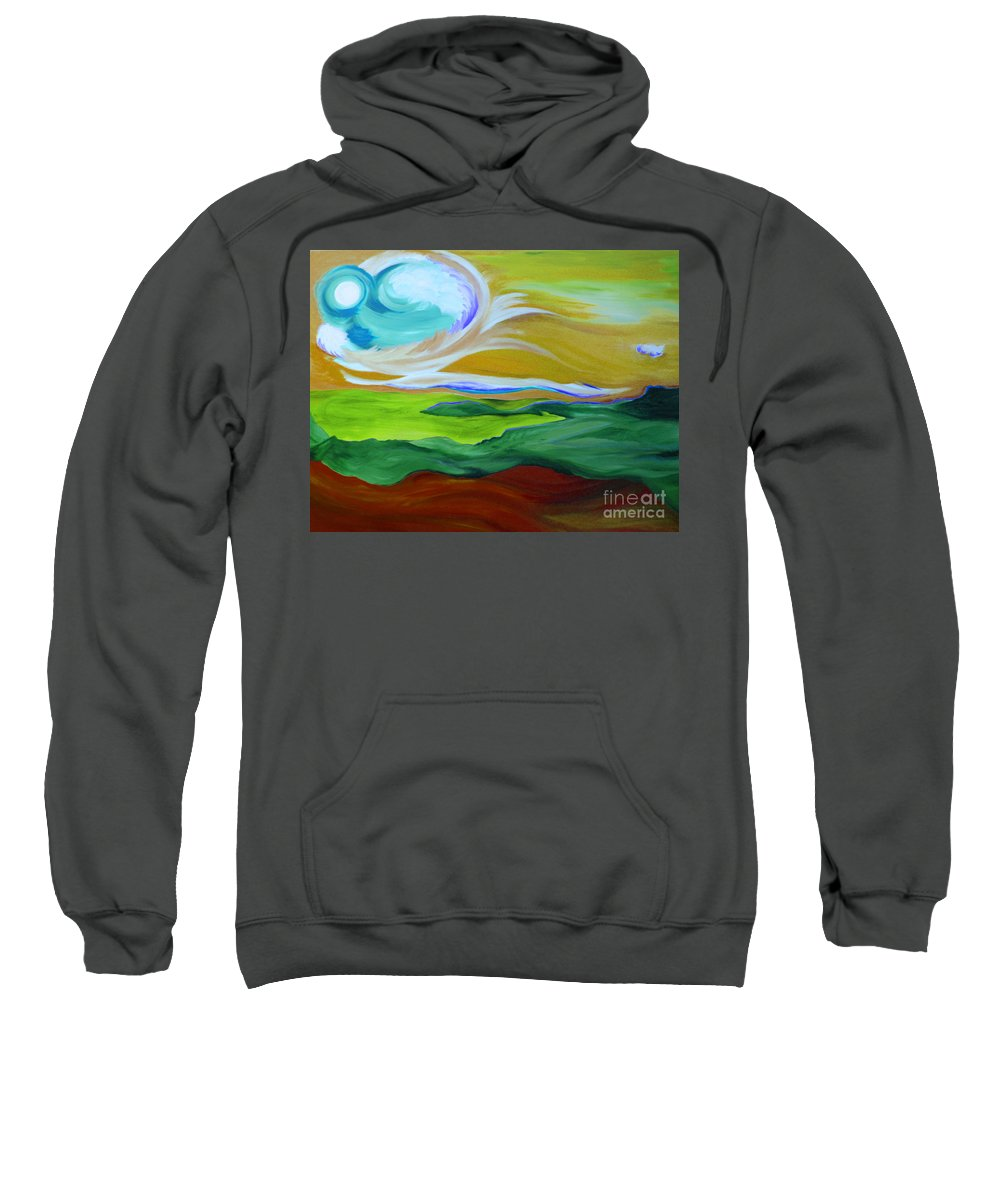 First Star Sweatshirt featuring the painting Angel Sky Green By Jrr by First Star Art