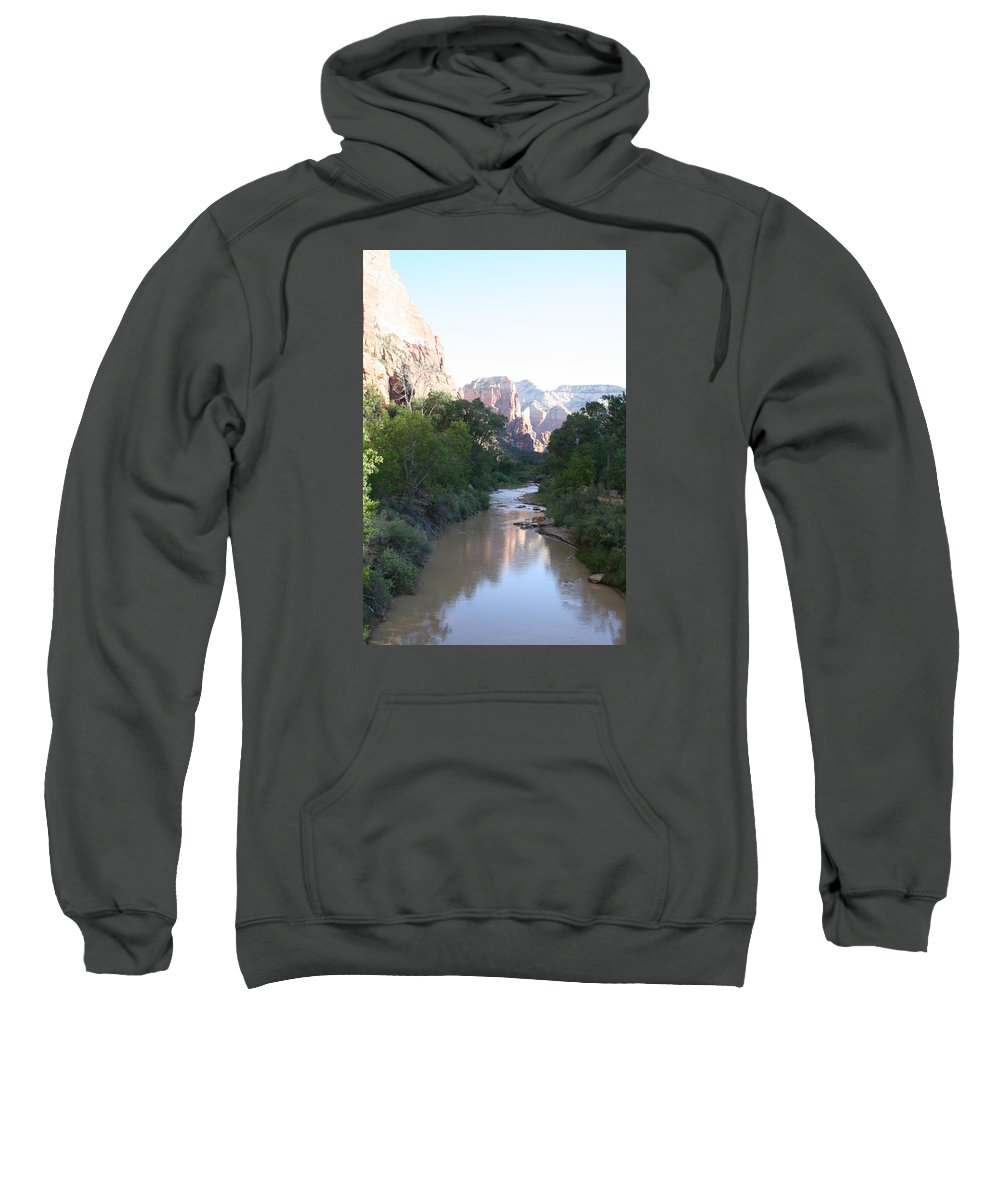 Virgin River Sweatshirt featuring the photograph Angels Landing - Virgin River - Zion Np by Christiane Schulze Art And Photography