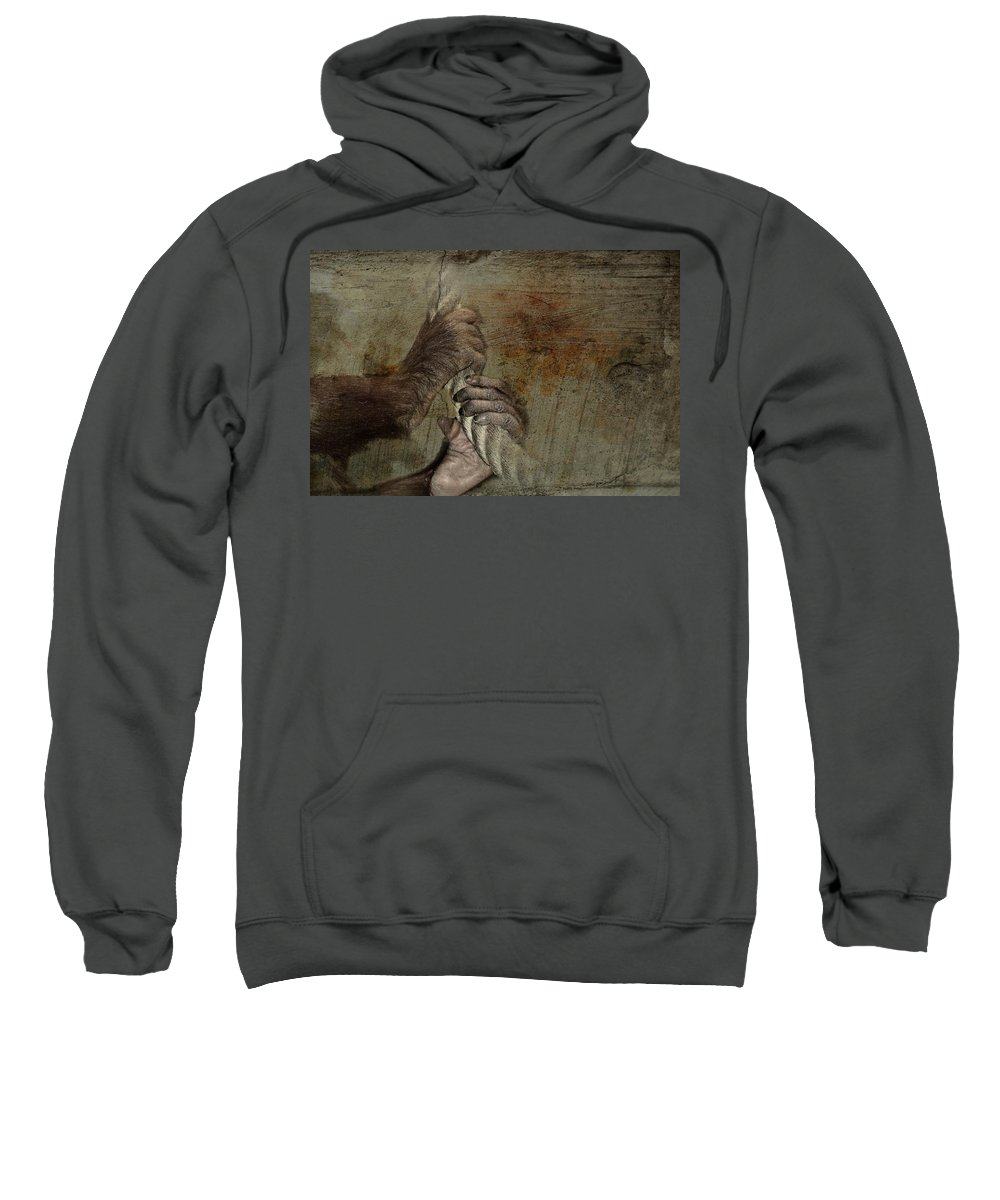 Nature Sweatshirt featuring the mixed media Animal Welfare by Heike Hultsch