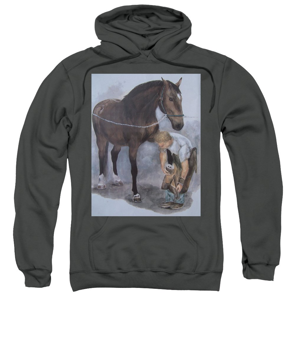 Farrier Sweatshirt featuring the painting Another Day At The Office by Kathy Laughlin