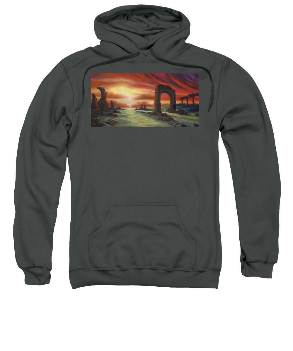 Sunset Sweatshirt featuring the painting Another Fallen Empire by James Christopher Hill