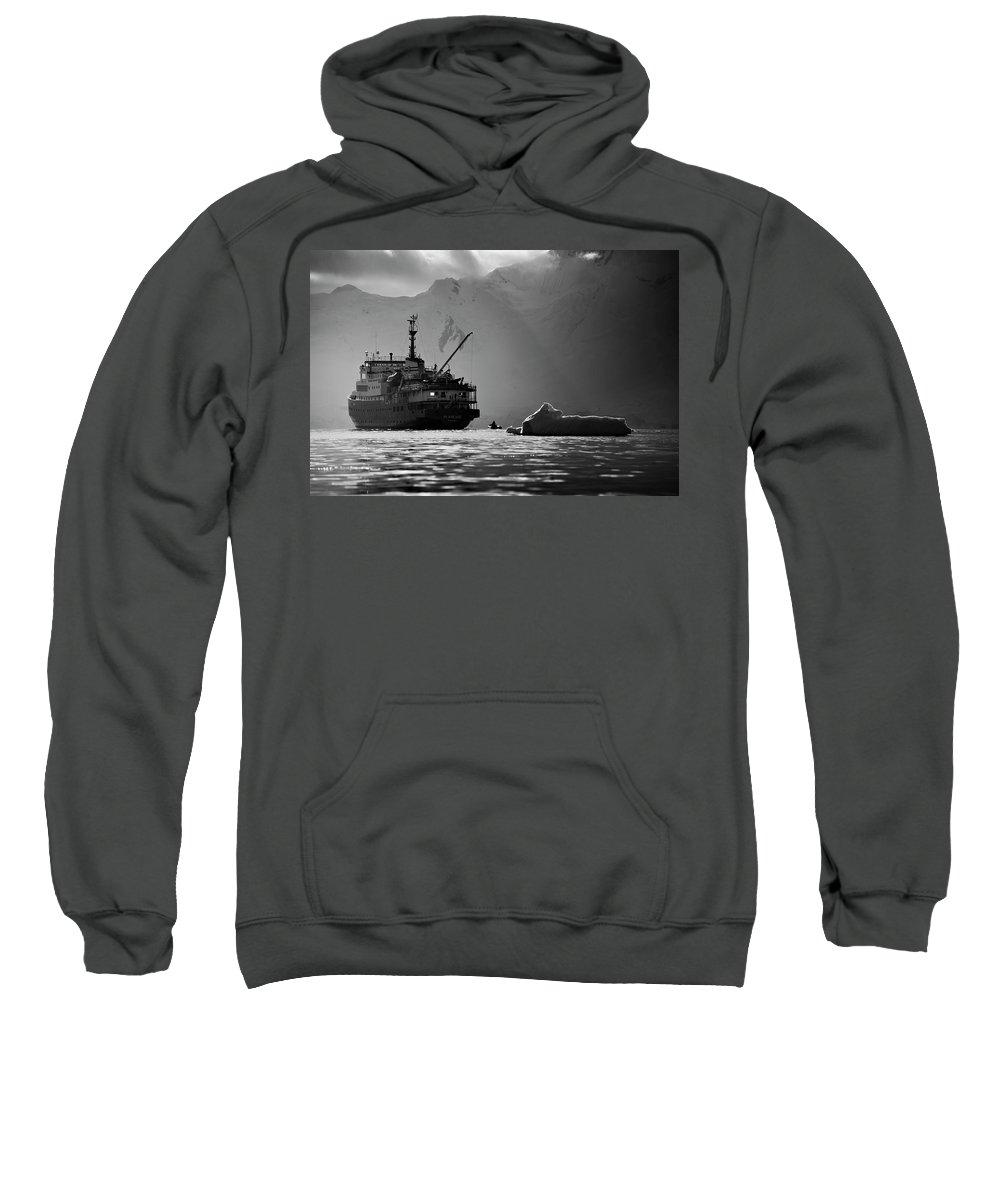 Adventure Sweatshirt featuring the photograph Antarctican Expedition 2013. Ship Name by R. Tyler Gross