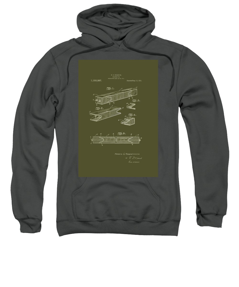 Patent Sweatshirt featuring the drawing Antique Railroad Tie Patent 1915 by Mountain Dreams