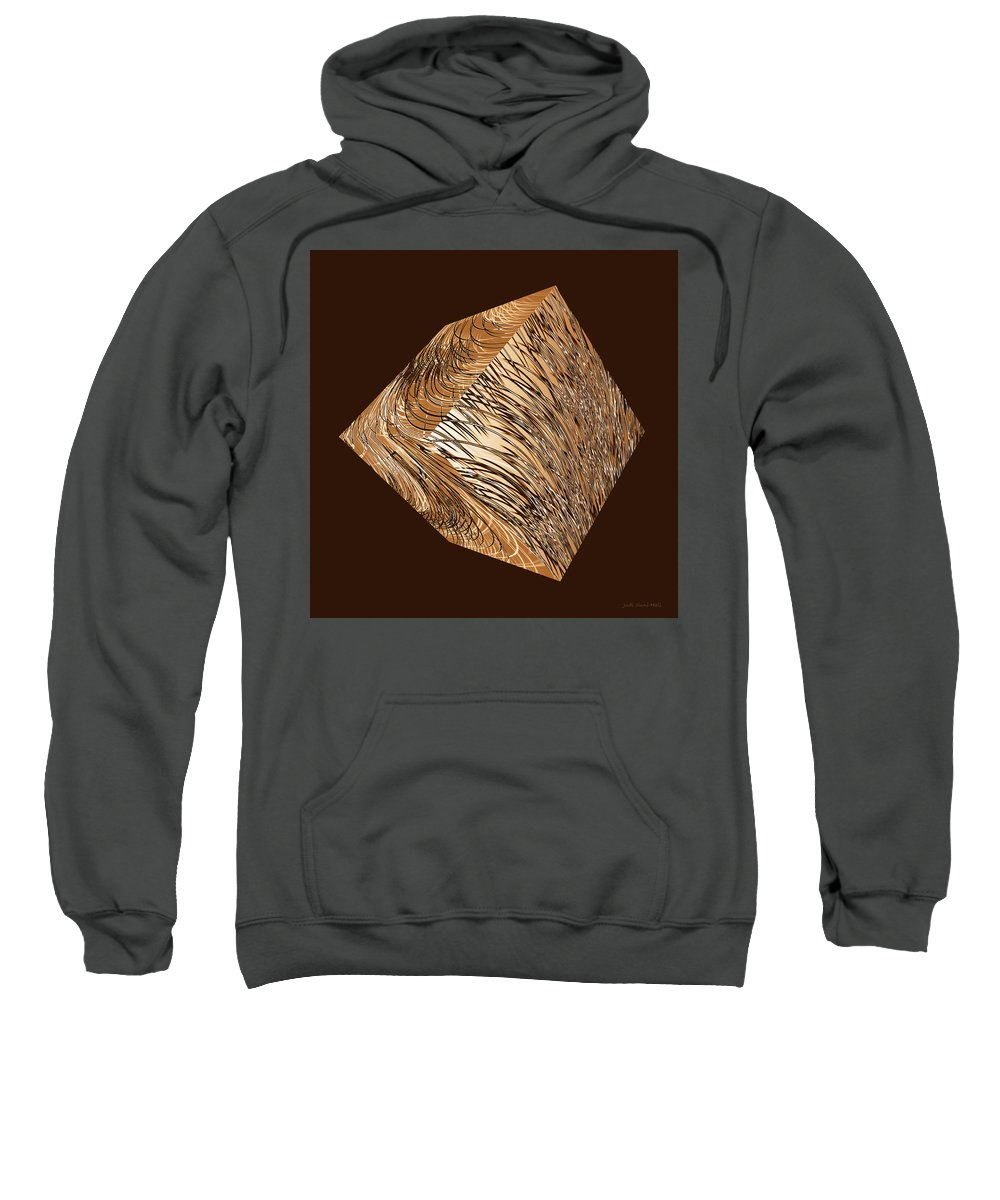 Cube Sweatshirt featuring the digital art Antique White Gold Abstract Cube by Judi Suni Hall