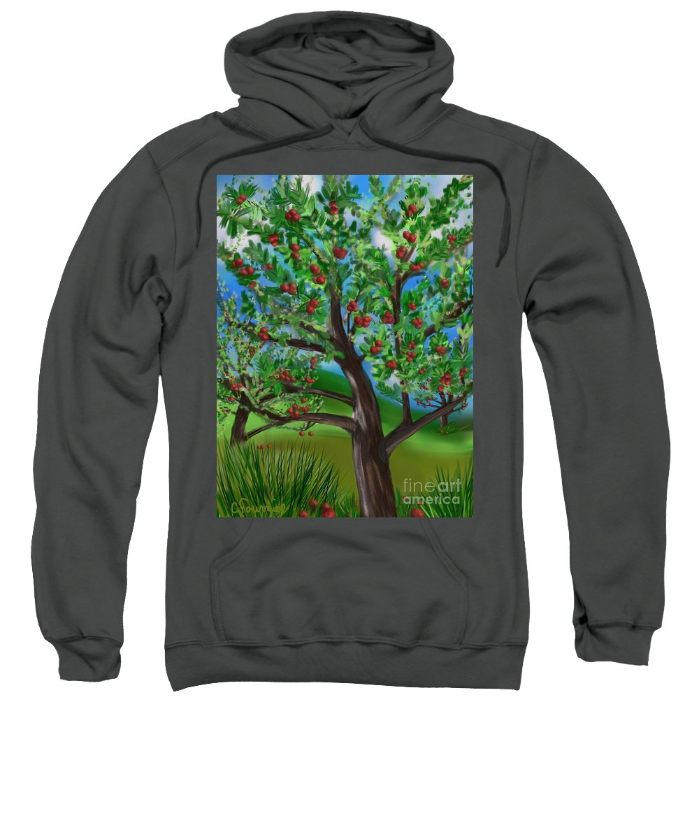 Apple Orchard Sweatshirt featuring the digital art Apple Acres by Christine Fournier