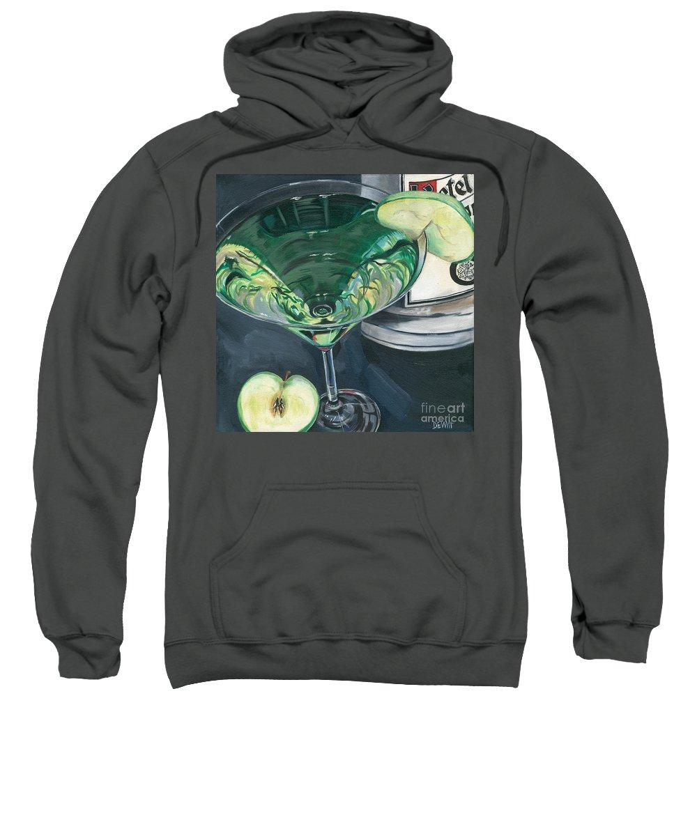 Apple Sweatshirt featuring the painting Apple Martini by Debbie DeWitt