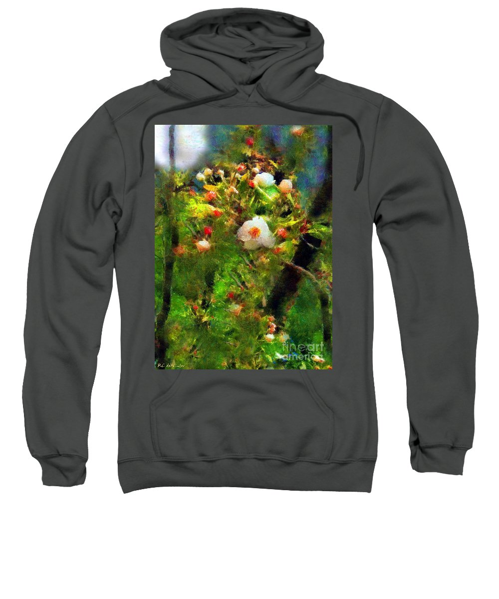 Apple Blossoms Sweatshirt featuring the painting Apple Tree In April by RC DeWinter