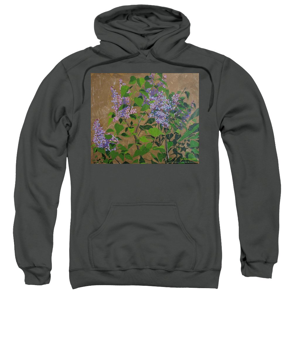 Lilacs Sweatshirt featuring the painting April Lilacs by Leah Tomaino