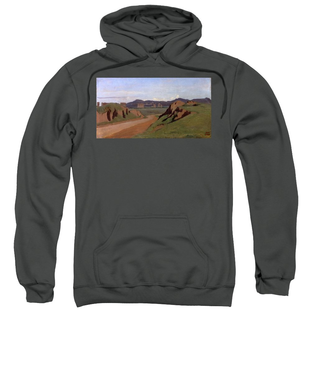 Jean-baptiste-camille Corot Sweatshirt featuring the painting Aqueduct by Jean-Baptiste-Camille Corot