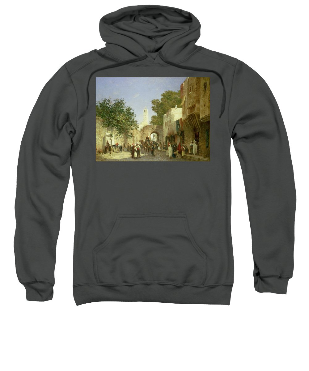Arab Street Scene Sweatshirt featuring the painting Arab Street Scene by Honore Boze