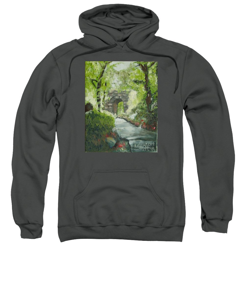 New York Sweatshirt featuring the painting Archway In Central Park by Laurie Morgan