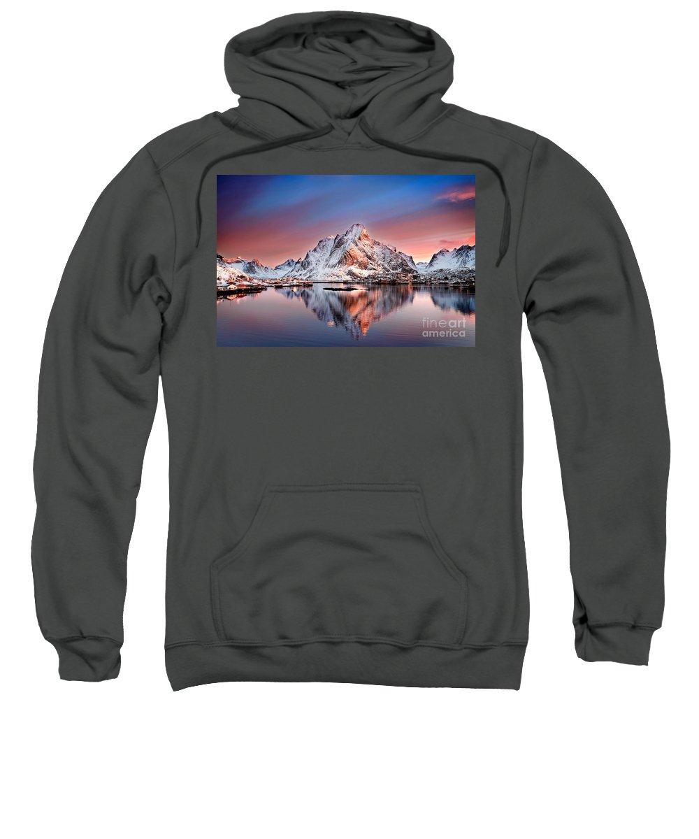 2012 Sweatshirt featuring the photograph Arctic Dawn Over Reine Village by Janet Burdon