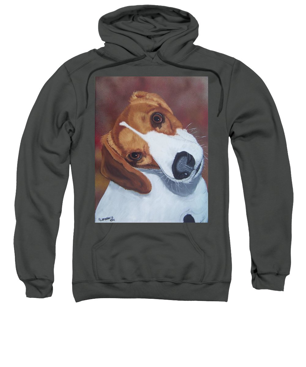 Beagle Sweatshirt featuring the painting Are You Talking To Me? by Debbie LaFrance