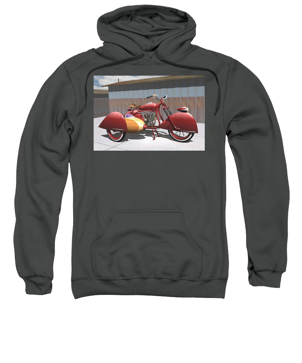 Motorcycle Sweatshirt featuring the digital art Art Deco Motorcycle With Sidecar by Stuart Swartz