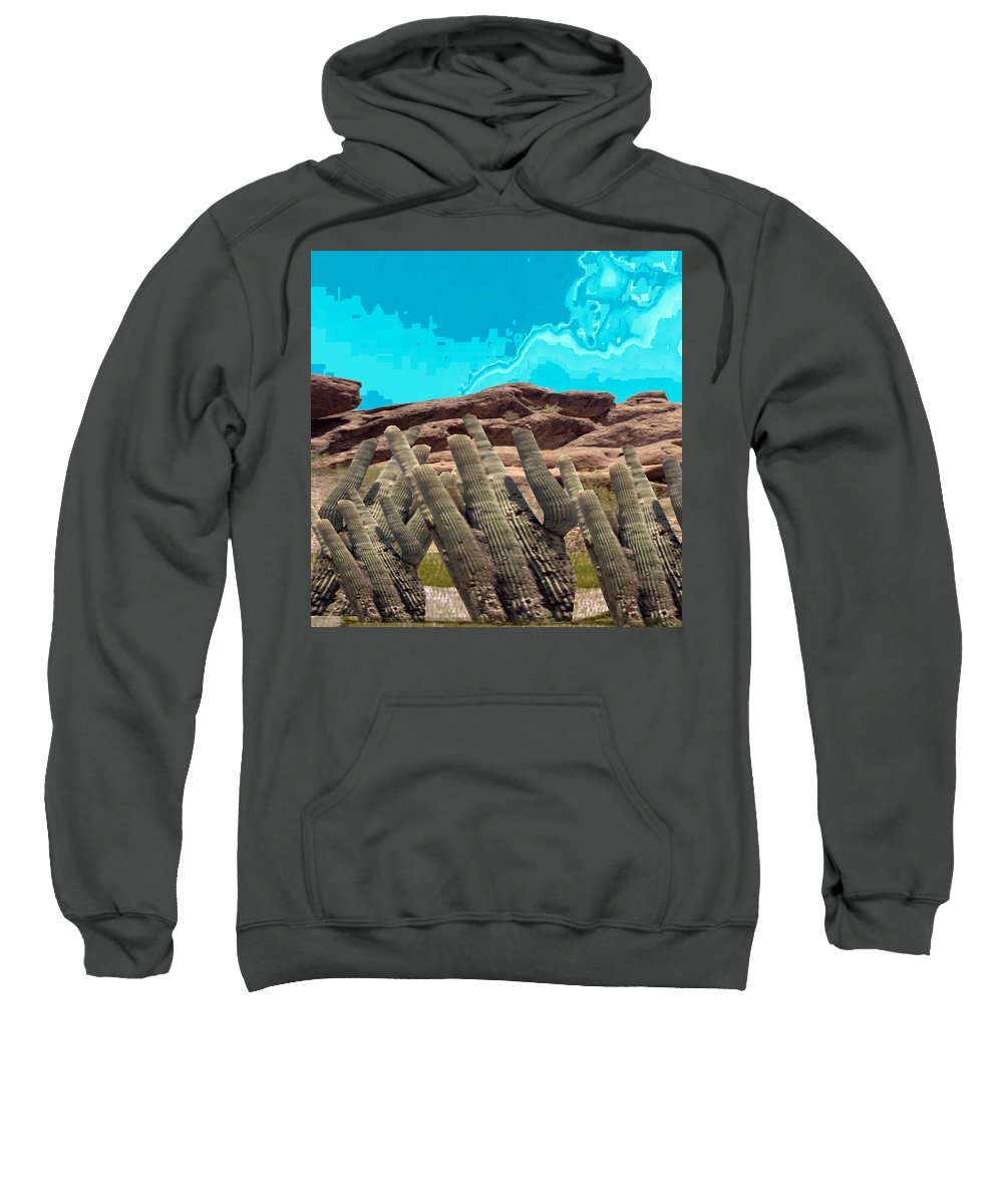 Succulent Sweatshirt featuring the mixed media Art No 1901 American Landscape Cactus Stone Mountains And Skyview By Navinjoshi Artist Toronto Canad by Navin Joshi
