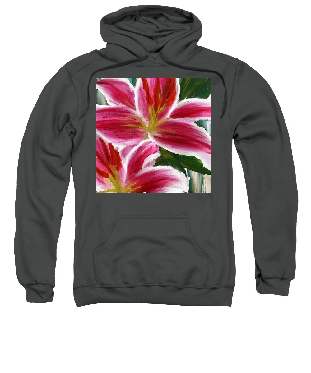 Asiatic Lily Sweatshirt featuring the painting Asiatic Lily- Asiatic Lily Paintings- Pink Paintings by Lourry Legarde