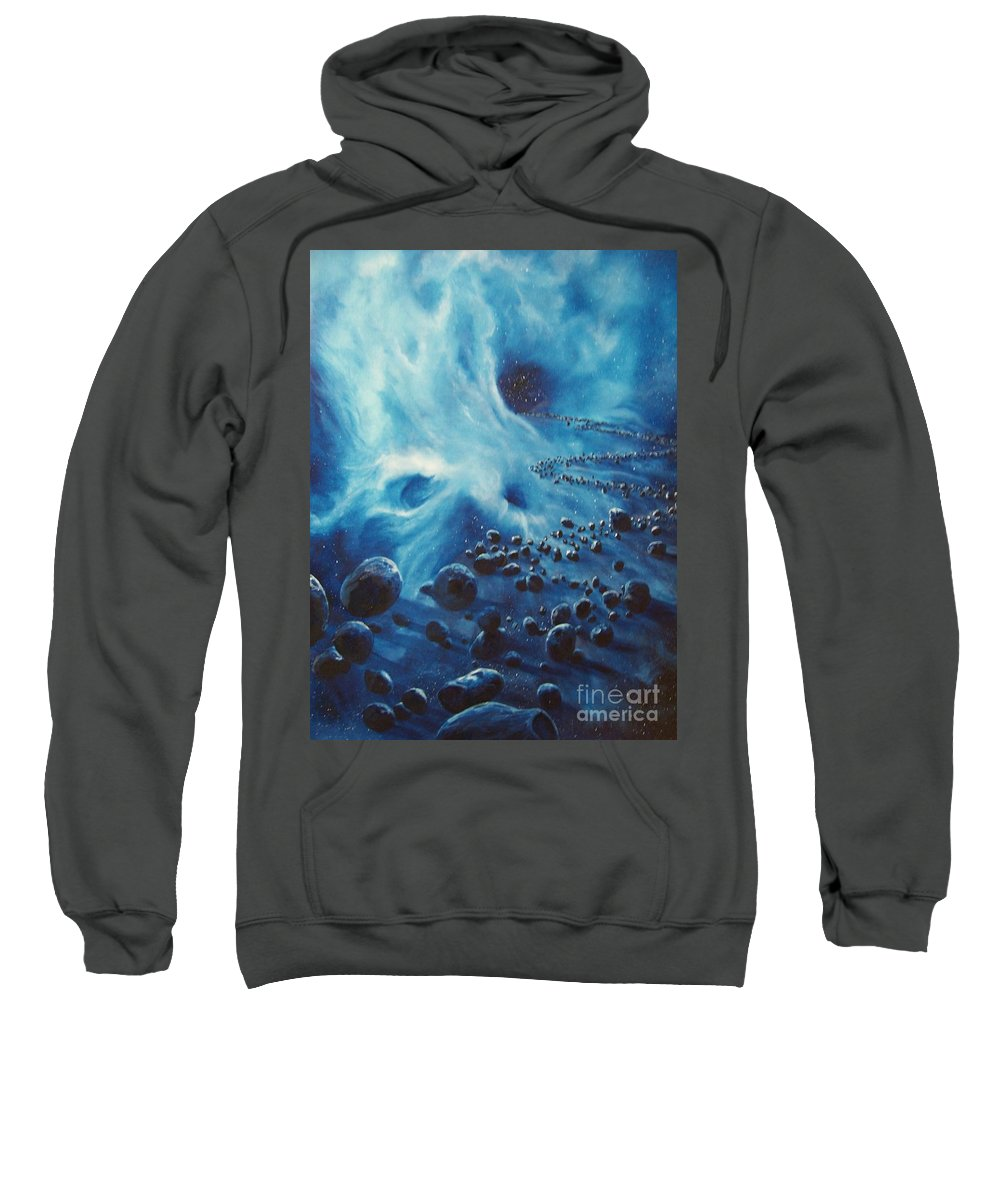 Si-fi Sweatshirt featuring the painting Asteroid River by Murphy Elliott