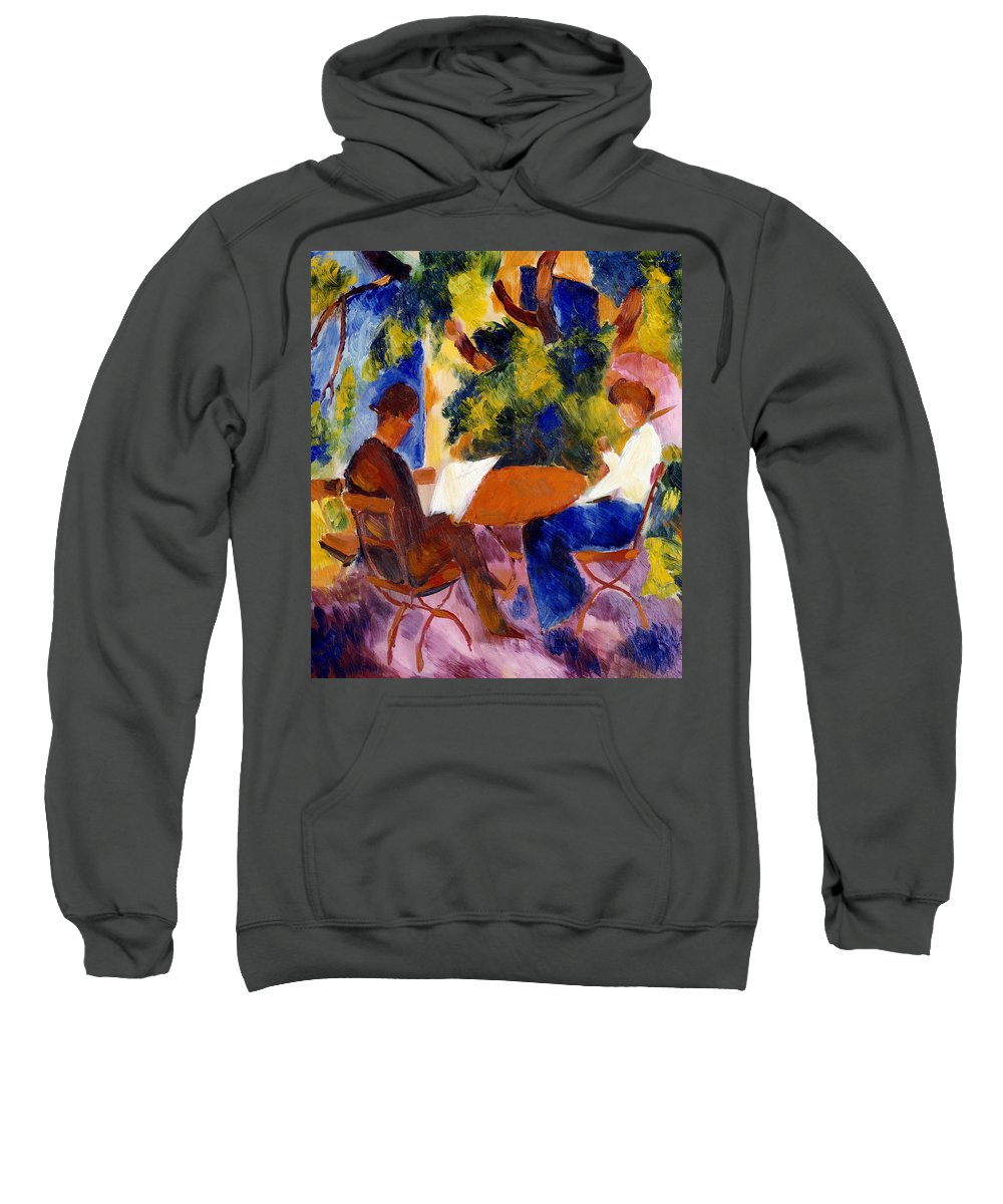 At The Garden Table Sweatshirt featuring the painting At The Garden Table by August Macke