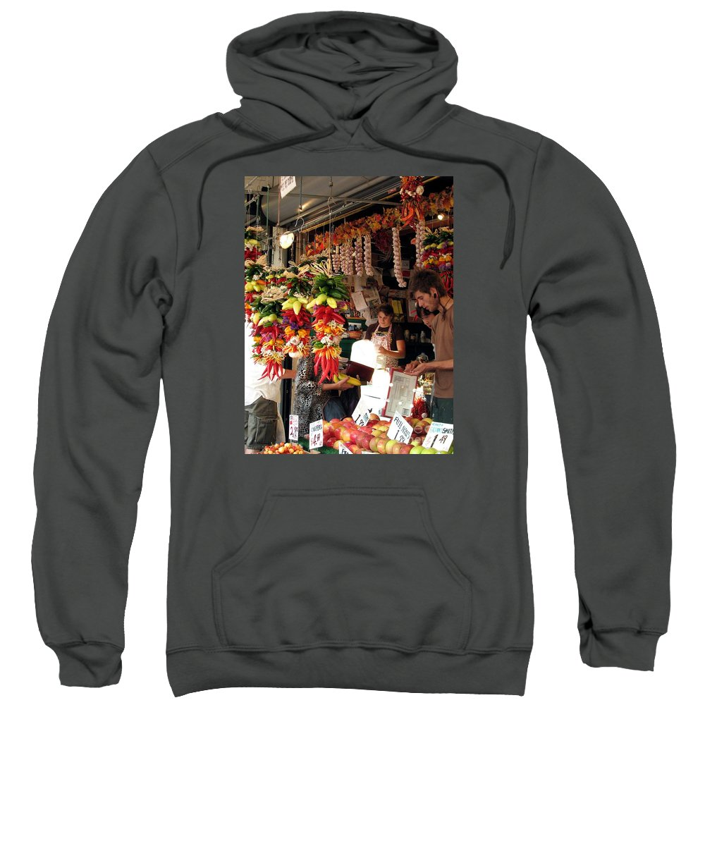pike Place Market Sweatshirt featuring the photograph At The Market by Chris Anderson