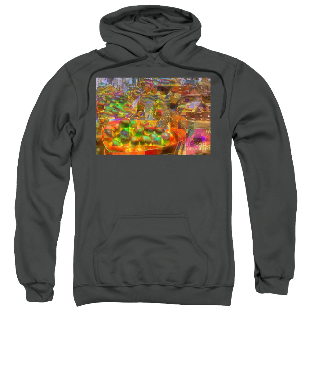 At The Market Sweatshirt featuring the photograph At The Market - Oranges by Miriam Danar