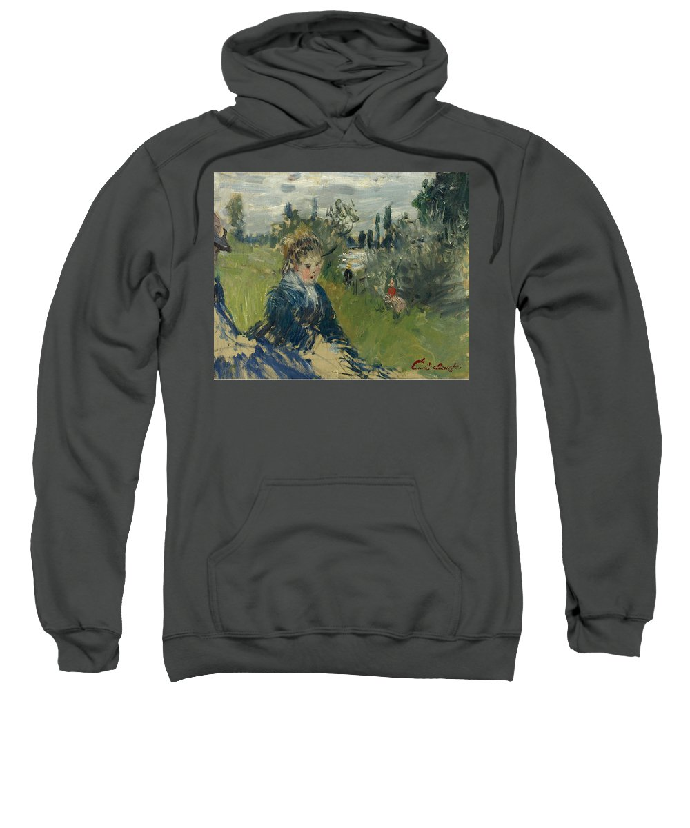 Claude Monet Sweatshirt featuring the painting At The Meadow. Vetheuil by Claude Monet