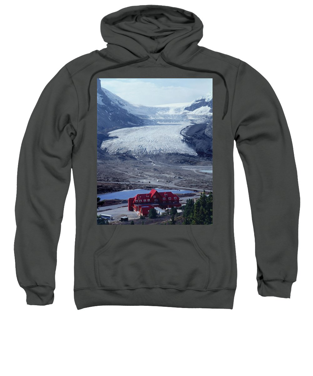 Athabasca Glacier Sweatshirt featuring the photograph 1m3734-athabasca Glacier W Original Icefields Chalet by Ed Cooper Photography