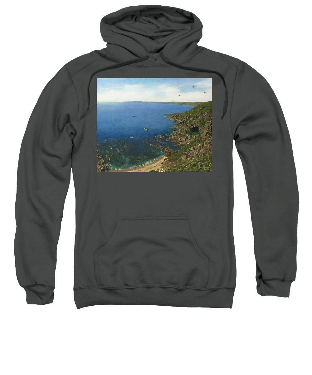 Landscape Sweatshirt featuring the painting August Afternoon At Whitsand Bay Cornwall by Richard Harpum