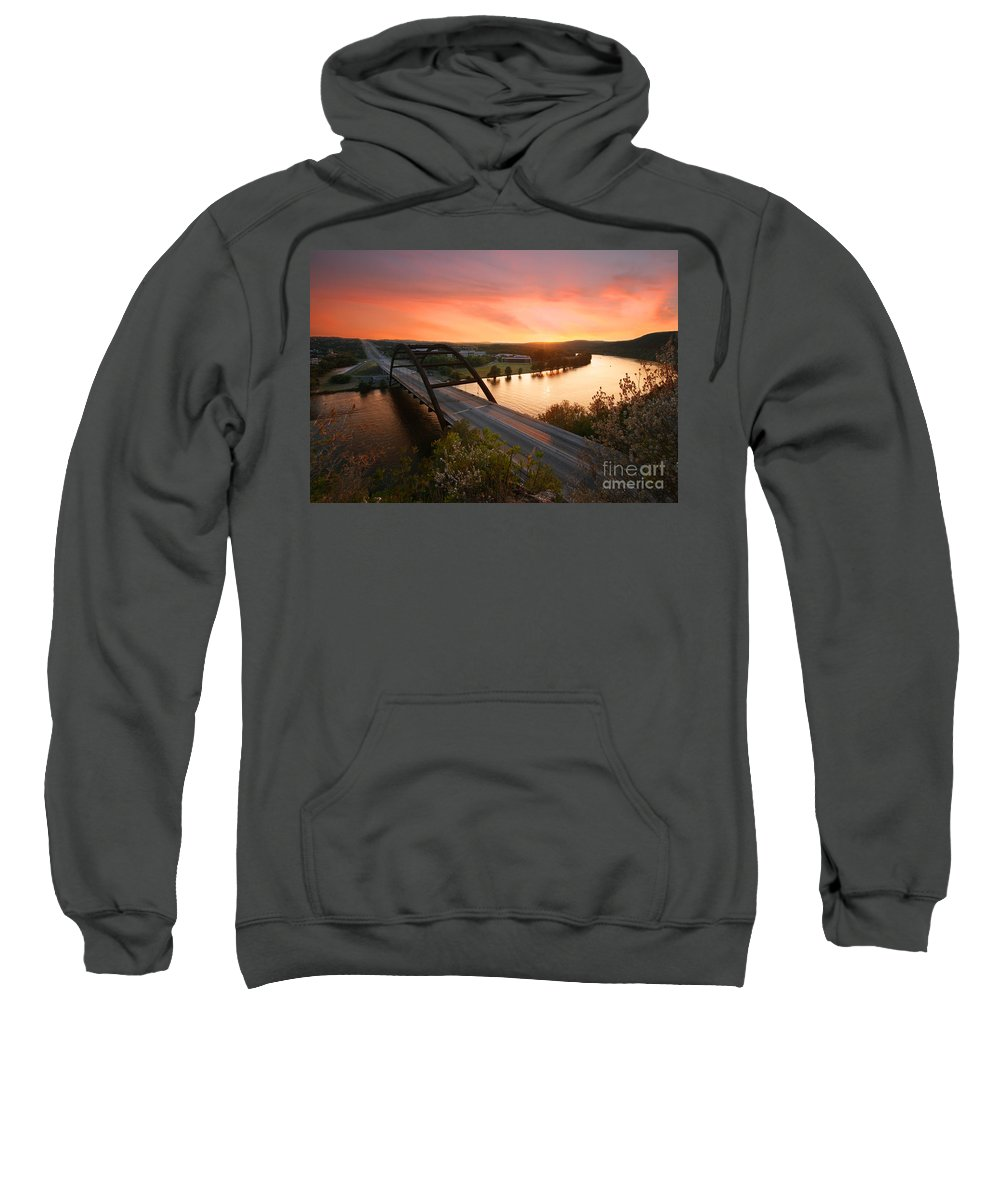 Volcanic Atmosphere Sweatshirt featuring the photograph Austin 360 Volcanic Sunset by Randy Smith
