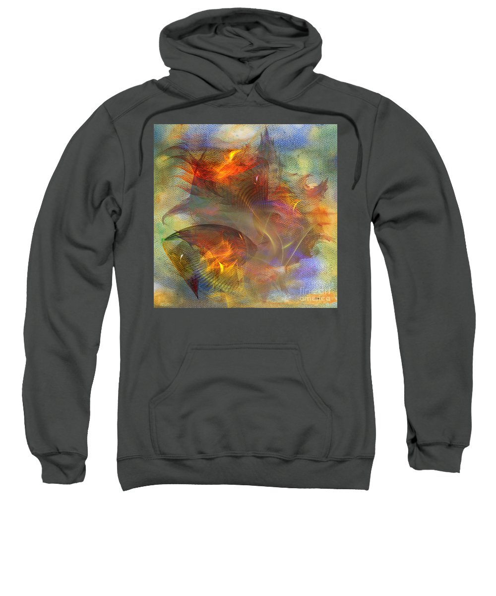 Autumn Sweatshirt featuring the digital art Autumn Ablaze - Square Version by John Beck