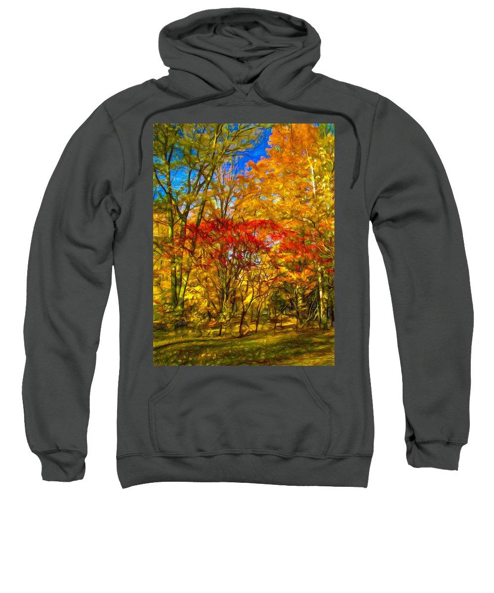 Maples Sweatshirt featuring the photograph Autumn Cul-de-sac - Paint by Steve Harrington