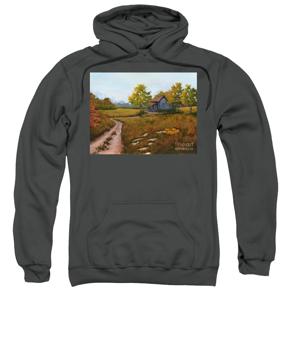 Landscape Sweatshirt featuring the painting Autumn Harvest by Jerry Walker